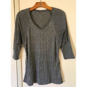 Grey Sequined NY&CO Dolman Sleeve Active Top
